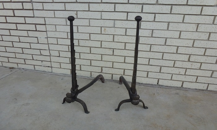 Antique French Andirons | $1250.00 - AREA-Houston Antiques & Furniture - Antique French Andirons