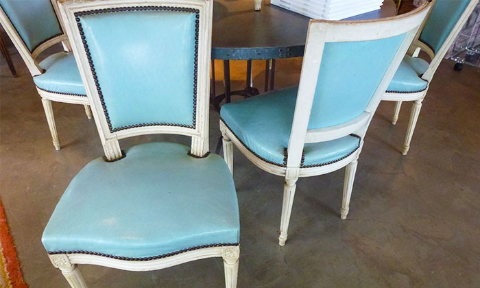 Set Of Louis XVI Dining Chairs In Leather
