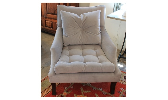 Pair Of Tufted Velvet Chairs In Grey | 30u2033 X 38u2033 X 39u2033 H | $4925.00 Pr.