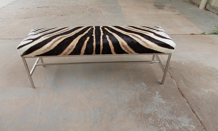 Primitive furniture - Zebra Hide Bench 49 X 16 X 19 H 2 Available 3975 00