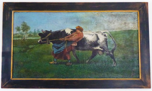 19th century cow pulling woman