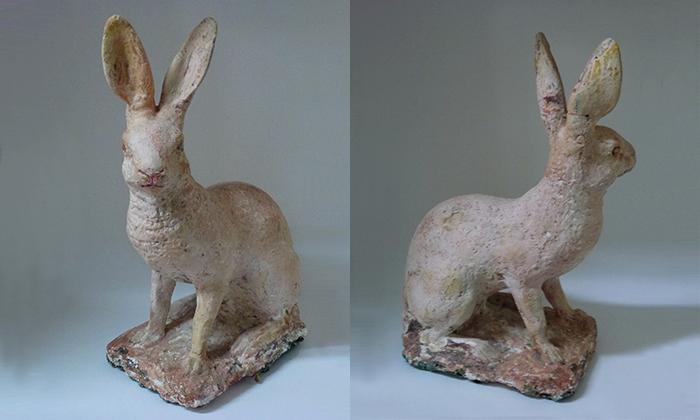 19th c. Dutch plaster hare