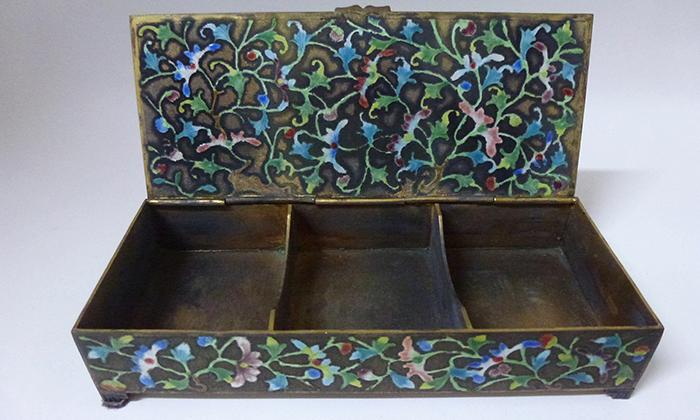 Enameled Cinnabar Antique Box