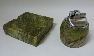 marble lighter and ashtray