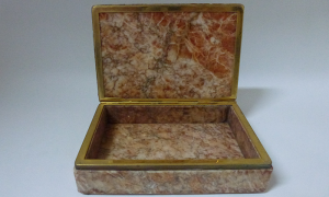 Onyx box with brass detail