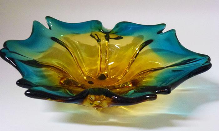 Blu and Gold Murano Glass Dish