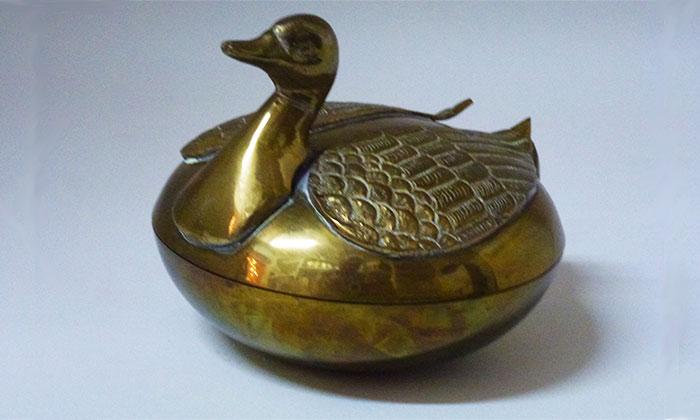 Vintage Brass Swan Box