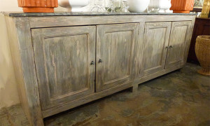 Reclaimed Wood buffet with galvanized top