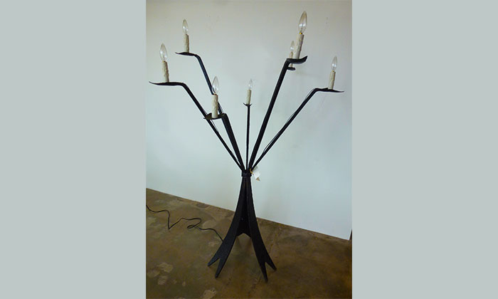 1940's French iron floor lamp