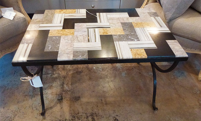 1940's Italian coffee table with inlaid marble