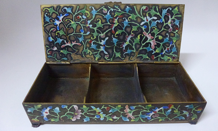 Enameled Cinnabar Antique Box
