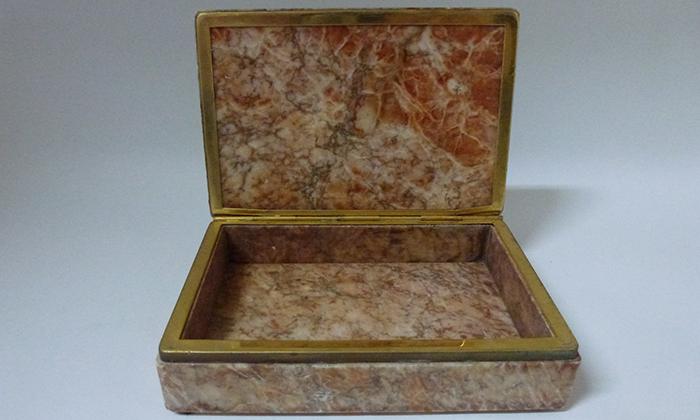 Onyx box with brass detail