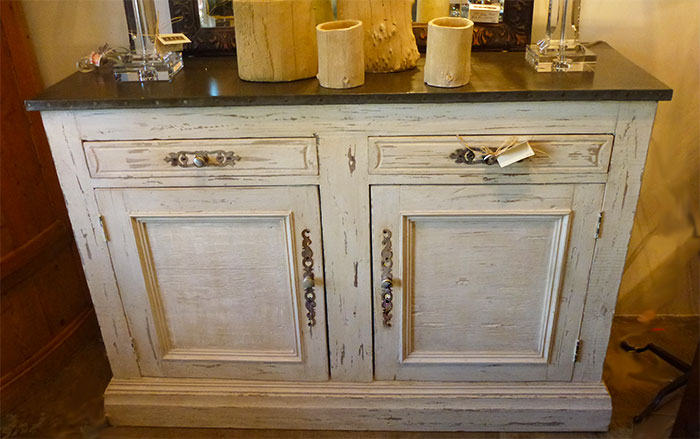 Hand painted buffet with galvanized top