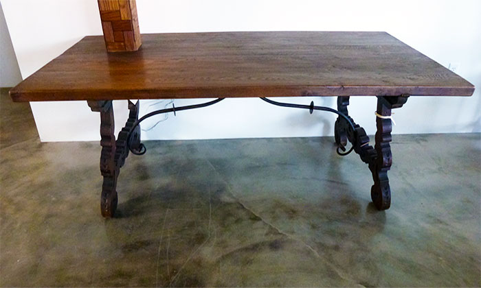 Italian Farm Table with Iron Stretchers